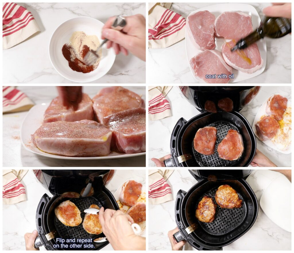 collage of 6 photos showing how to make air fryer pork chops