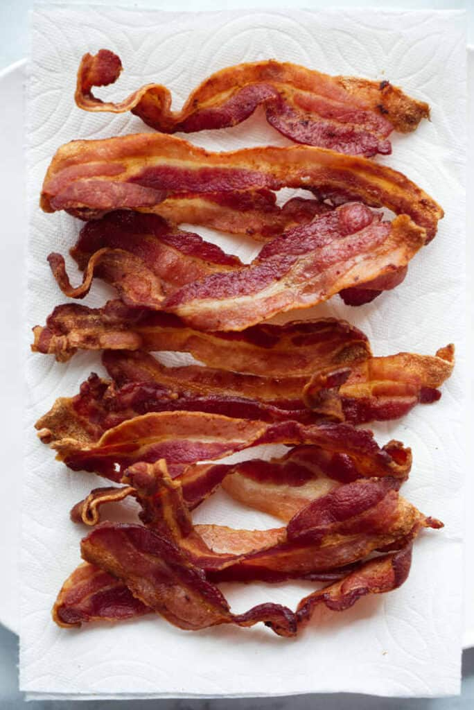 A plate of crispy air fryer bacon