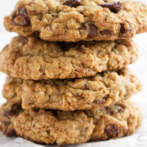 a stack of 4 air fryer chocolate chip oatmeal cookies