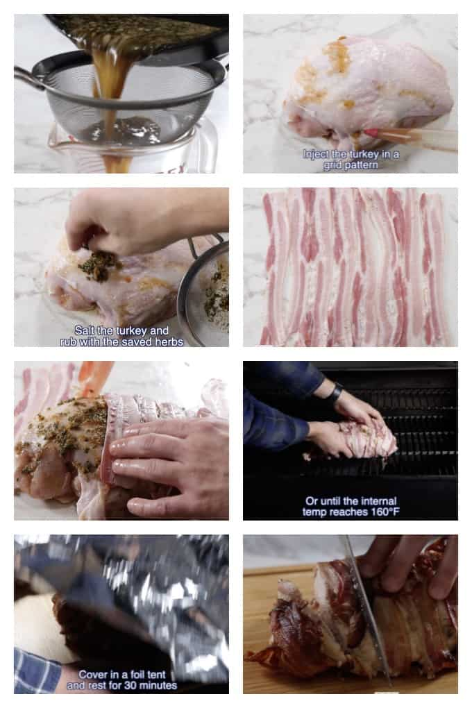 collage showing step by step process for making a traeger smoked turkey breast