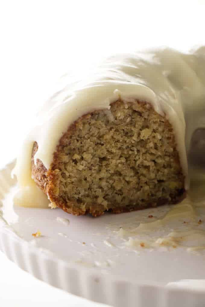 A sliced banana bundt cake.