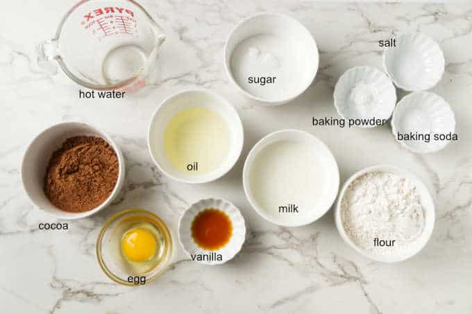 Ingredients for air fryer chocolate cupcakes.