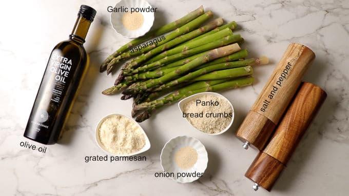 Ingredients needed for air fryer asparagus.