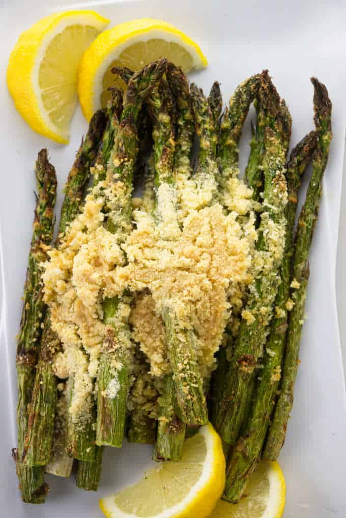 Asparagus with parmesan bread crumbs and lemons.