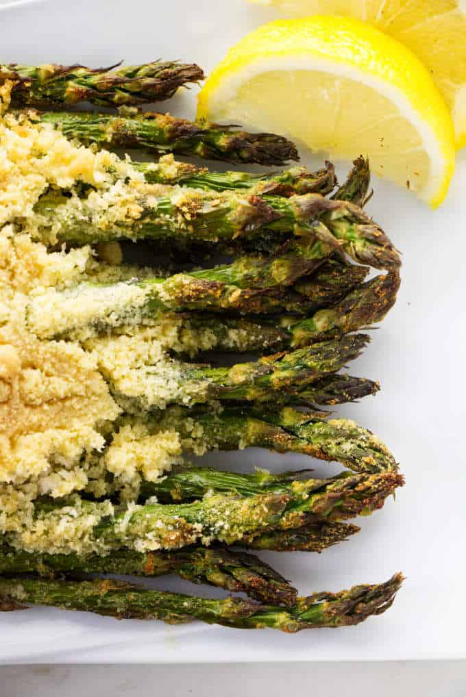 Asparagus fresh out of the air fryer.