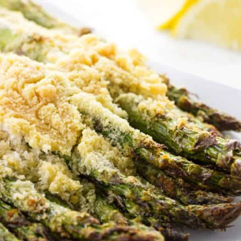 Asparagus with a crunchy crust of parmesan and bread crumbs.