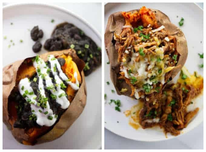 Collage of two sweet potatoes with toppings.
