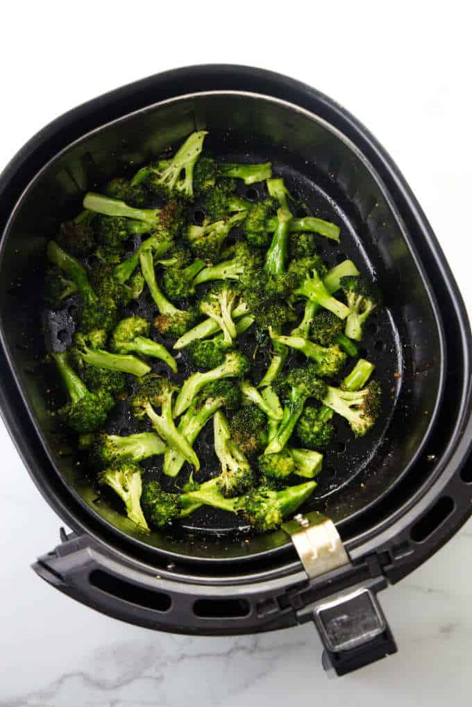 Air Fryer Broccoli with Parmesan and Lemon