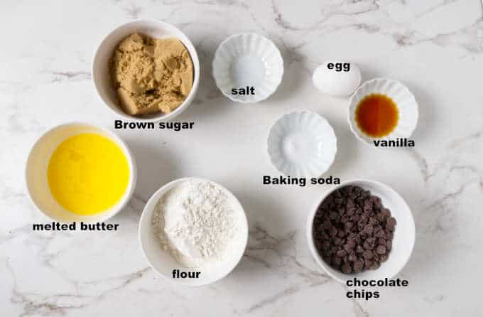 Ingredients needed for air fryer deep dish chocolate chip cookie bowl.