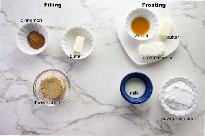 Ingredients used for cinnamon roll filling and frosting.