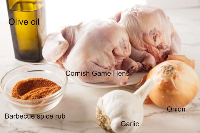 Ingredients for air fryer Cornish game hens.