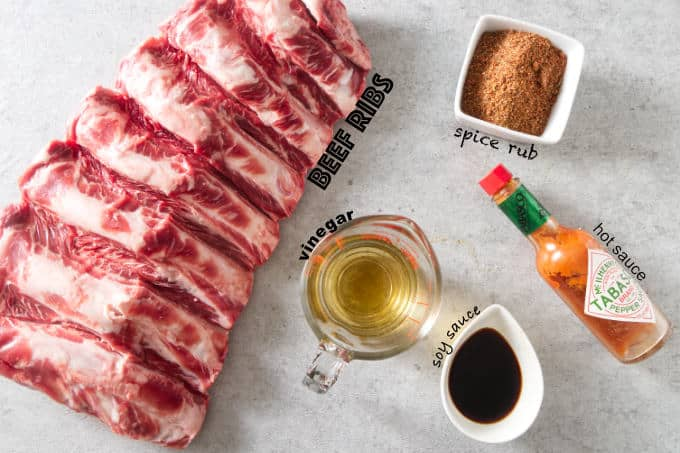 ingredients used for traeger smoked beef ribs.