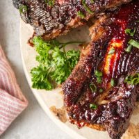 air fryer beef back ribs cooked and sliced on wood butcher block