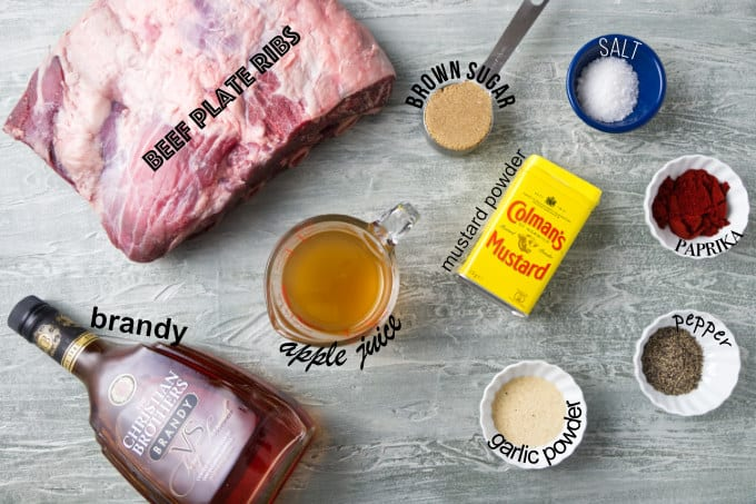 Ingredients needed for Traeger smoked beef plate ribs.