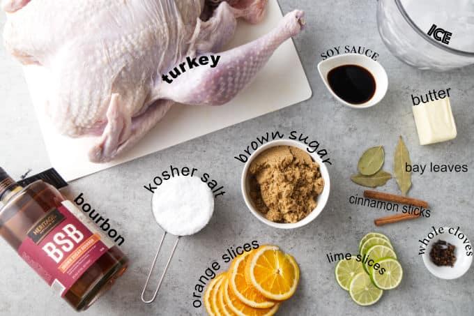 Ingredients needed for brown sugar bourbon Traeger turkey.