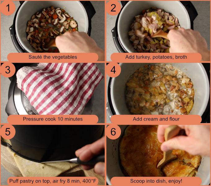 Ninja Foodi turkey pot pie process photos