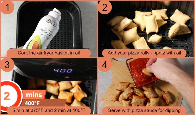 Air fryer pizza rolls from frozen process photos