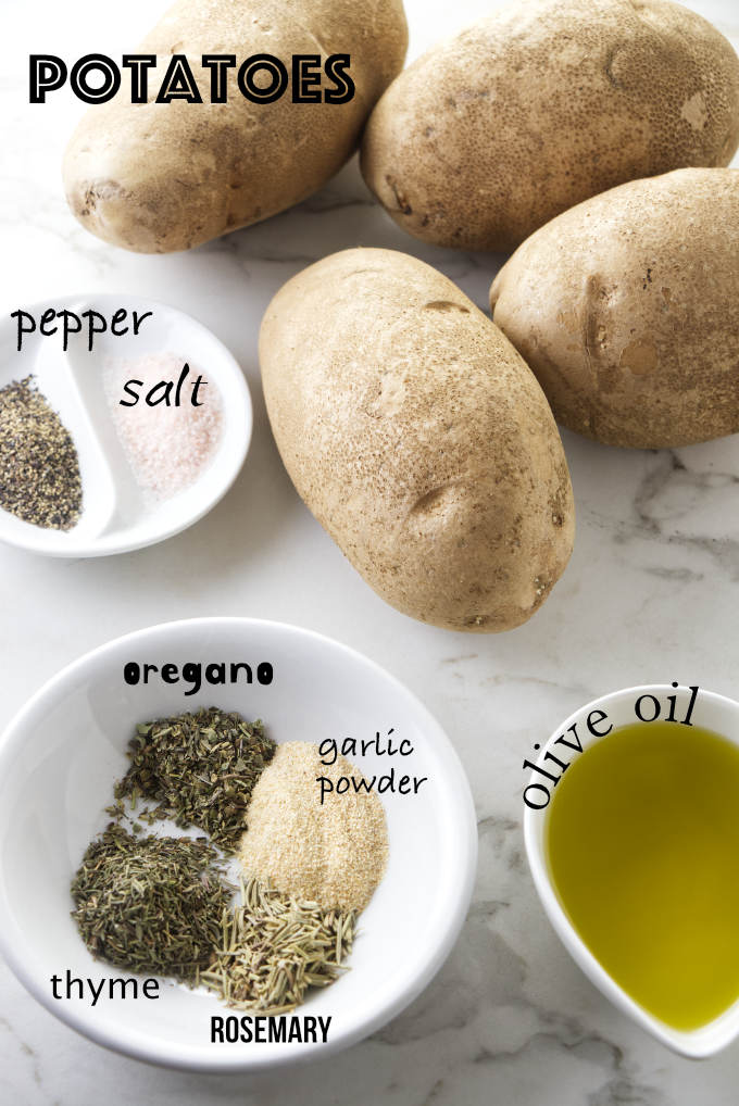 Ingredients used to make grilled potatoes.