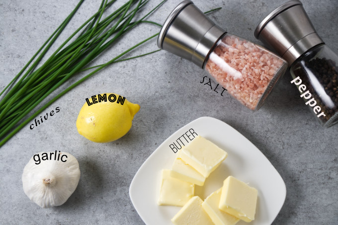 Ingredients used to make lemon garlic chive butter for salmon.