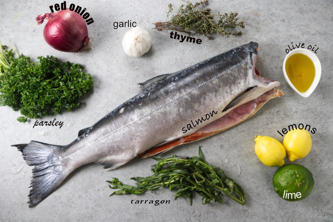 Ingredients used to cook a whole salmon on the grill.
