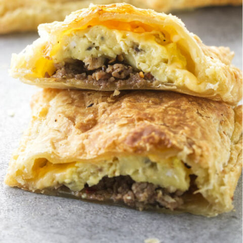 Breakfast pockets stuffed with sausage, egg, and cheese.
