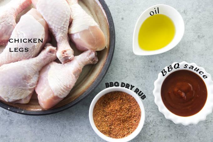 Ingredients needed to make bbq air fryer chicken legs.